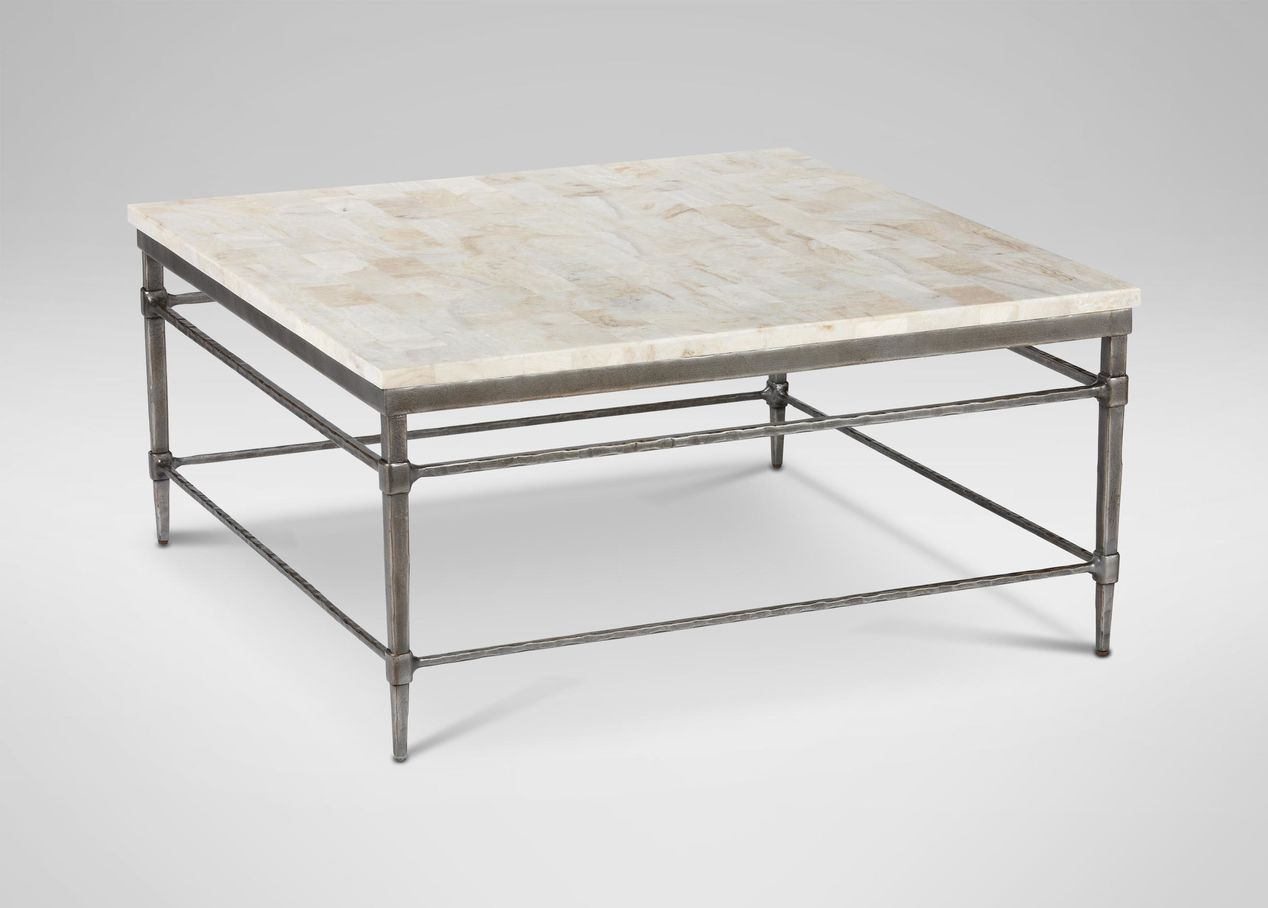Vida Square Stone Top Coffee Table Tables Ethan Allen