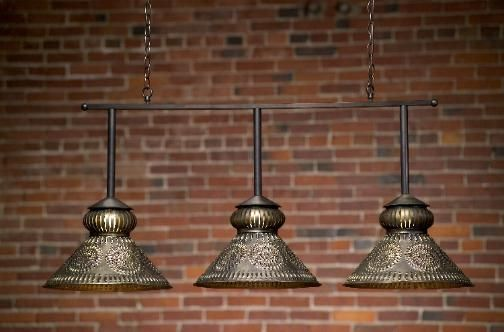 Custom Decorative Antique Brass Hanging Pool Table Light