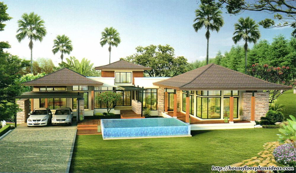Tropical style house plans house design plans for Hawaiian house plans