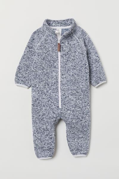 Photo of Knit Fleece Overall – Dark blue melange – Kids | H&M US
