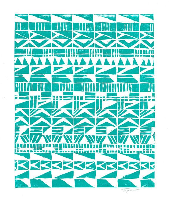 SALE Fun Abstract Tribal Patterns Art Block Print 8 x 10 Home Decor / Black, Turquoise, Hot Pink / Hand Pulled Linocut via Etsy