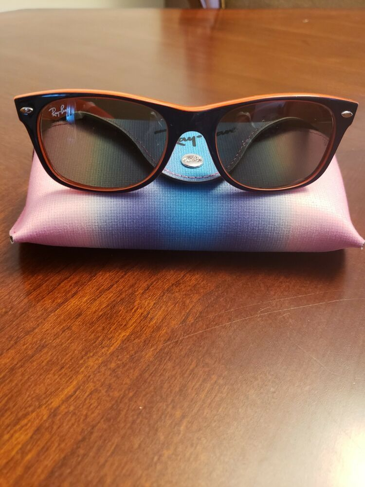 ebc20a60618 RAY-BAN SUNGLASSES RB 2132 WAYFARER 789 3F 52-18 BLUE ON ORANGE w BLUE FADE   fashion  clothing  shoes  accessories  mensaccessories ...