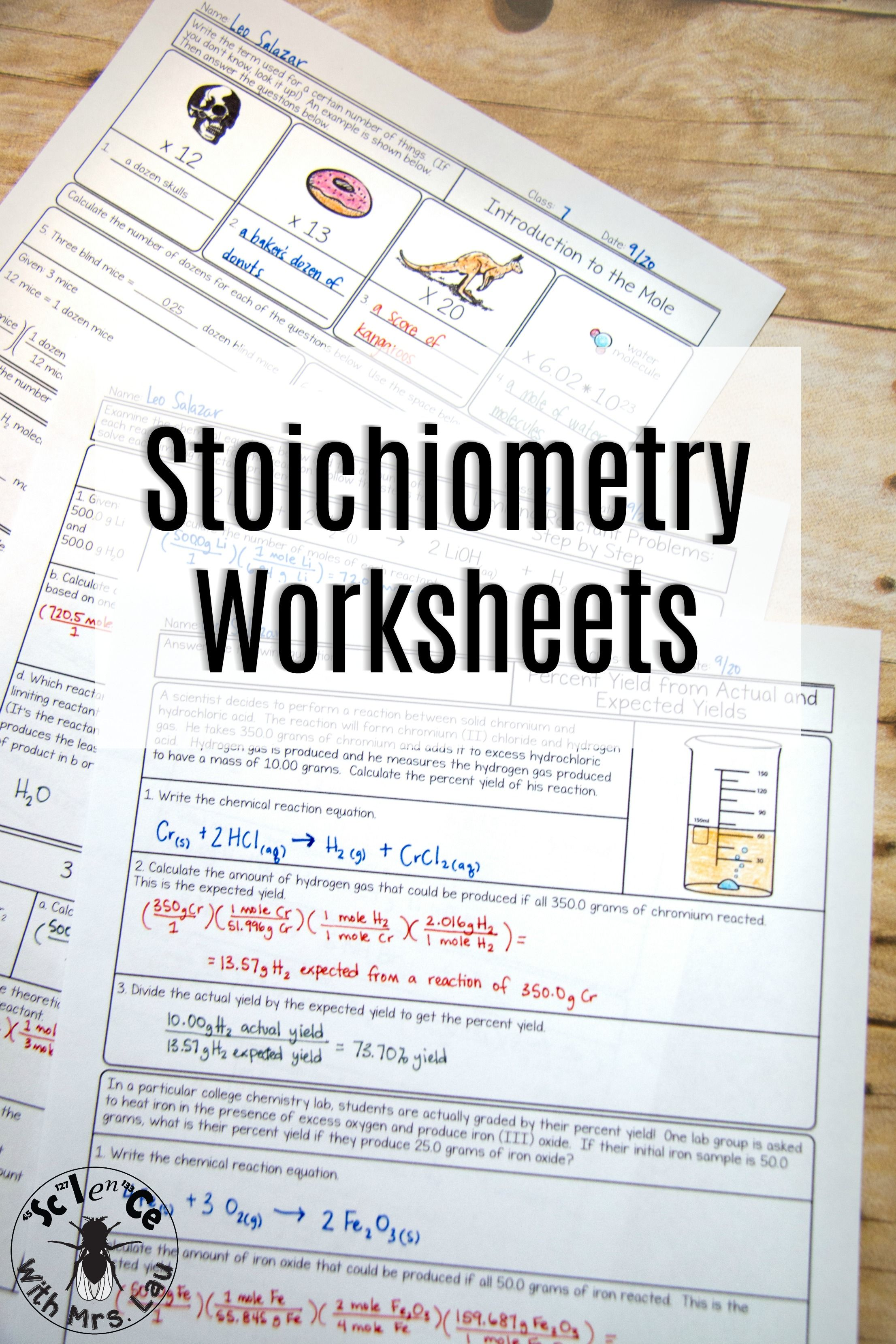Stoichiometry And The Mole Chemistry Homework Page Unit