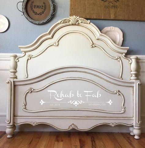 Glazed Antique White Bed Frame