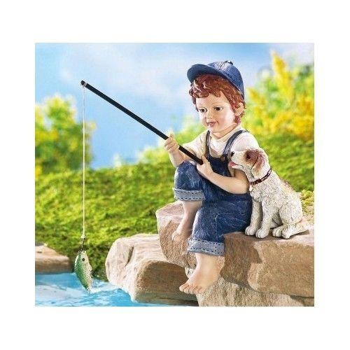 Little boy dog fishing pond sculpture patio garden statue for Little boy fishing statue