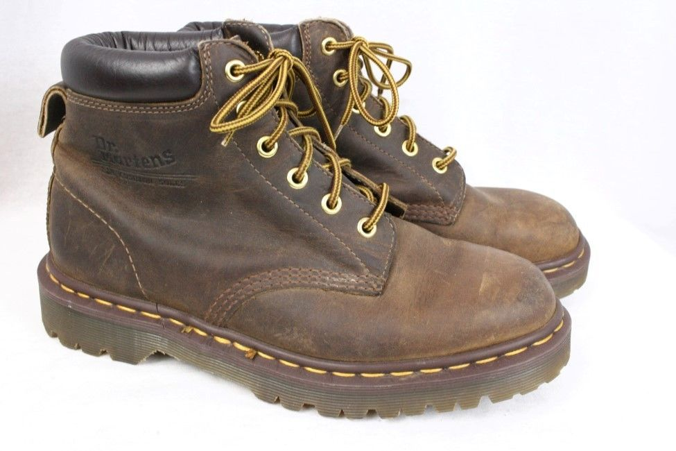 eb1a21e720f DOC DR MARTENS Saxon 939 6 Eye Vintage Collar Brown Leather Boots Men UK 7  US 8  DrMartens  AnkleBoots