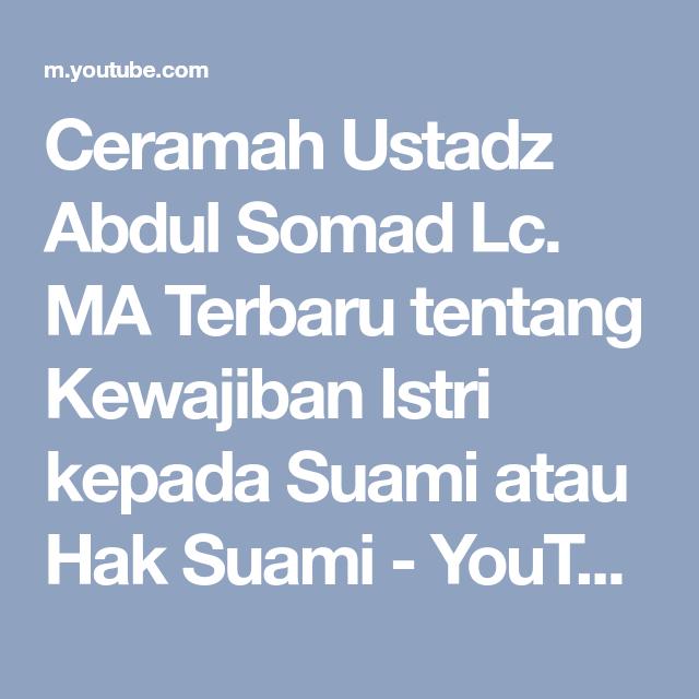 ceramah ustadz abdul somad lc ma terbaru tentang kewajiban istri