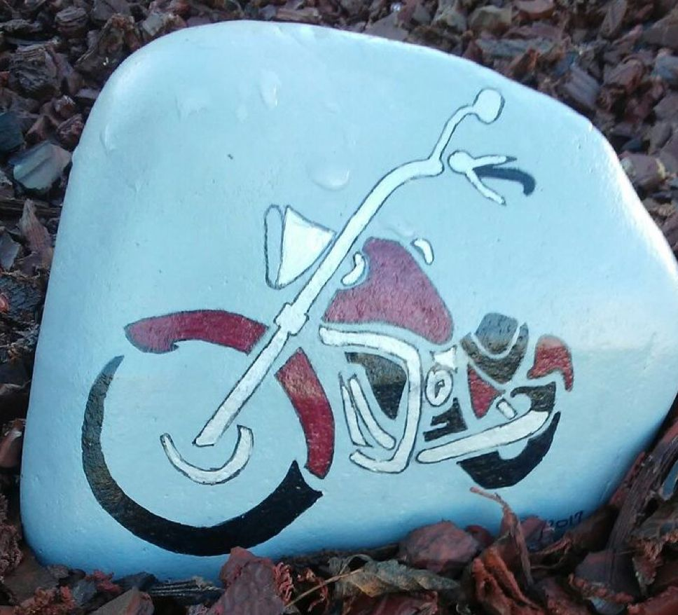 Motorcycle Painted Rock Rock Painting Patterns Motorcycle Art Painting Motorcycle Painting
