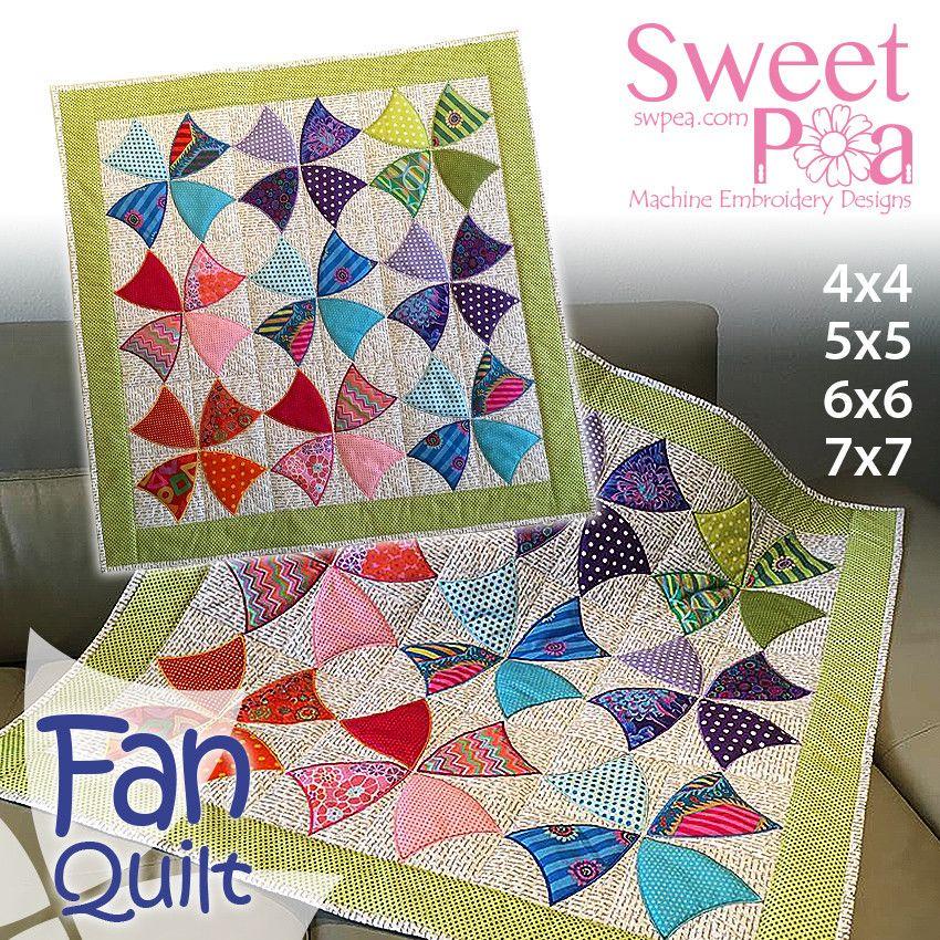 Fan quilt 4x4 5x5 6x6 7x7 in the hoop machine embroidery design ... : machine quilting hoop - Adamdwight.com