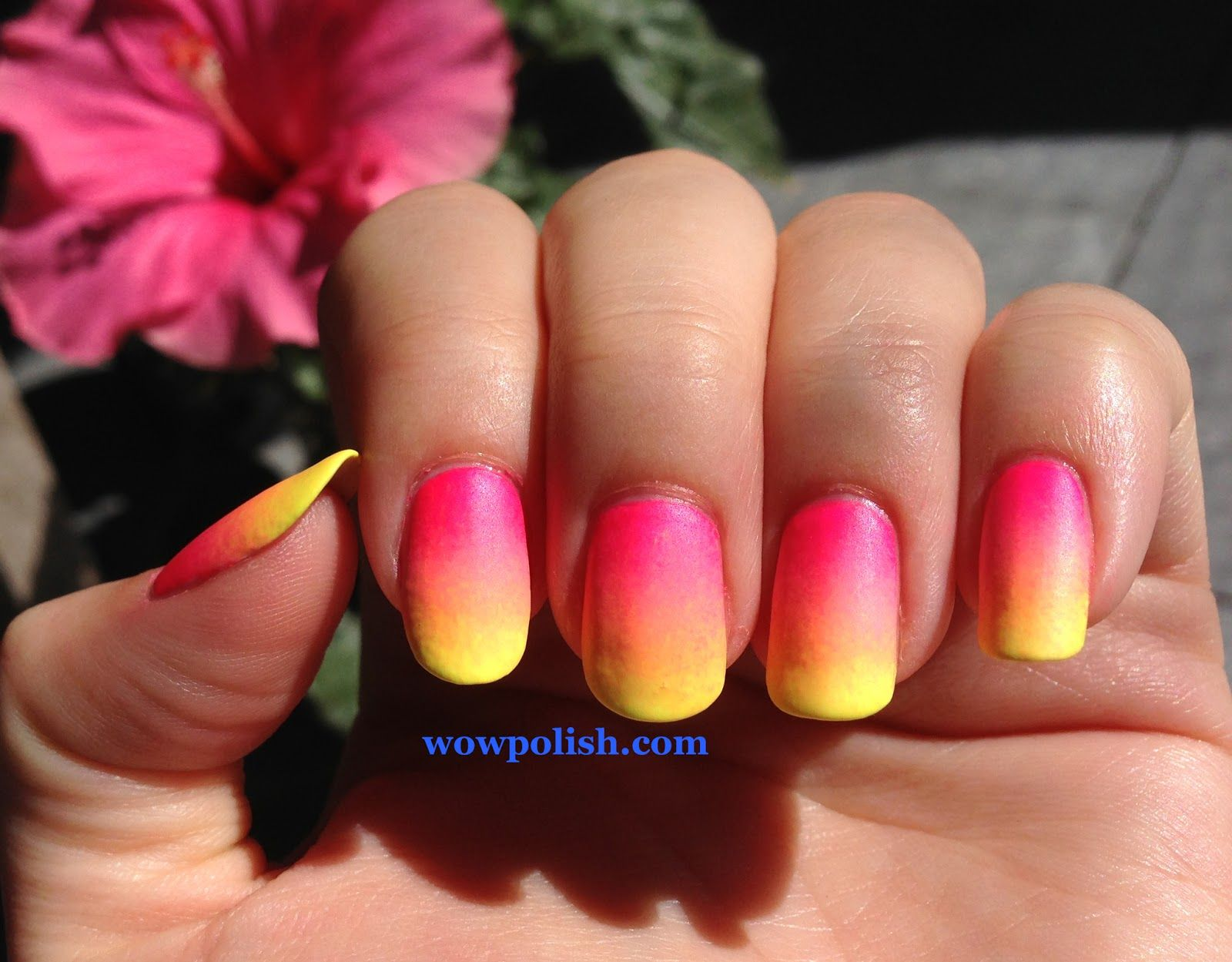 Bright Neon Gradient Nail Art: Pink to Yellow | Nail stuff ...