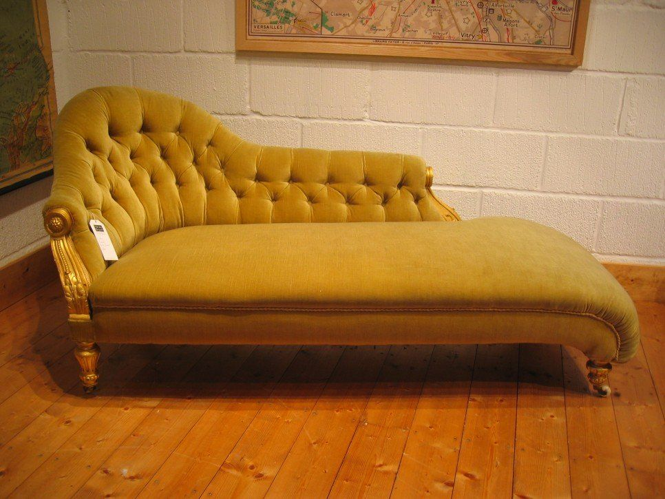 Furniture Yellow Color Antique Victorian Chaise Lounge Sofa Bed