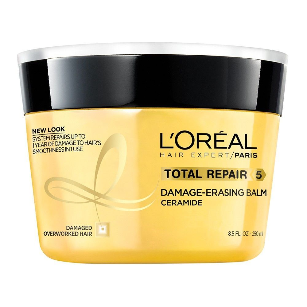 L Oreal Paris Elvive Total Repair 5 Damage Erasing Balm 8 5 Fl Oz Hair Treatment Damaged Drugstore Hair Products Best Hair Mask