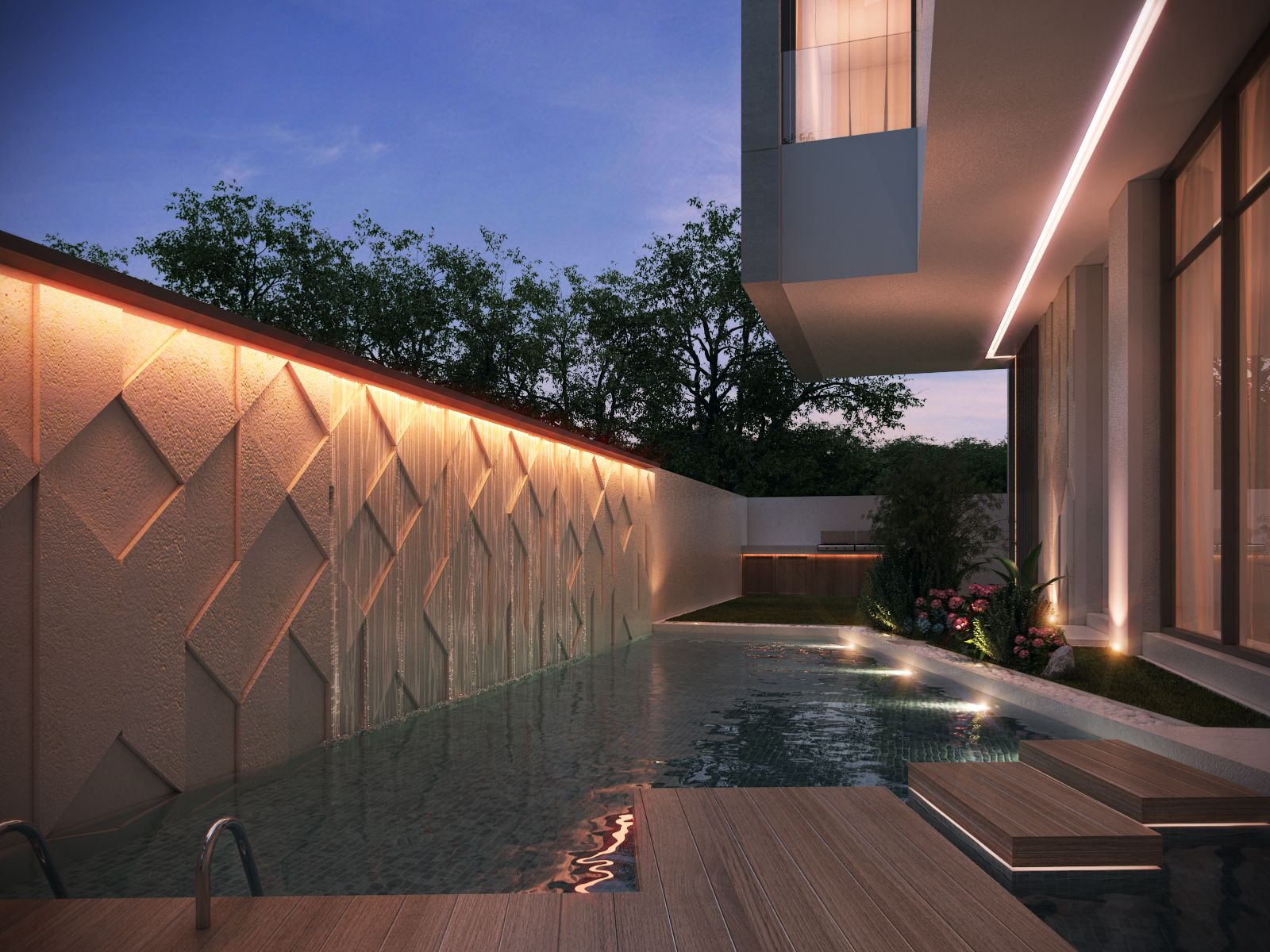 Private villa 400 m kuwait by sarah sadeq architects for Exterior wall design ideas