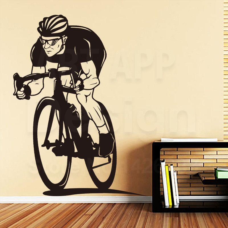 art design home decoration vinyl racing bike wall sticker removable