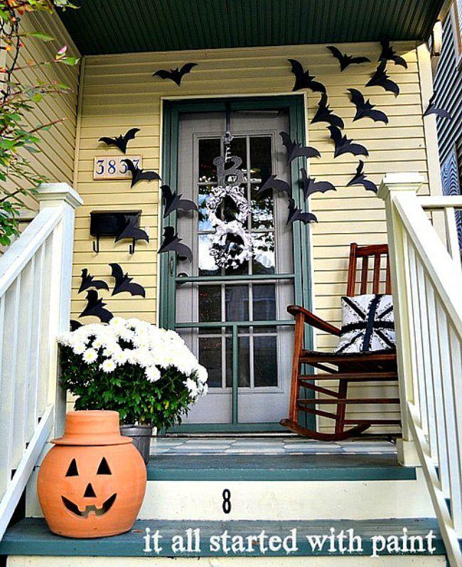 Bats on the Door Decor Haloween Pinterest Halloween door - front porch halloween decorations