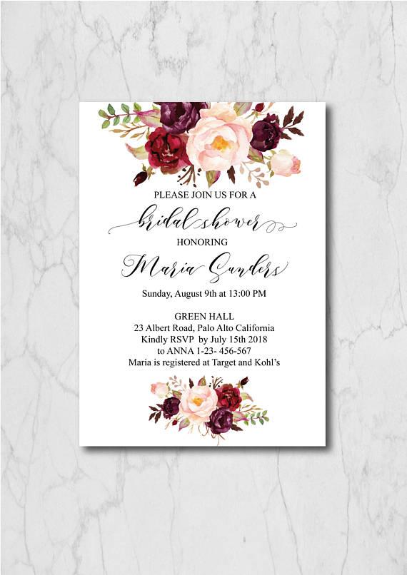 Burgundy Bridal Shower Invitation Template Bridal Shower Invites Bridal Sh Floral Wedding Stationary Bridal Invitations Floral Invitations Template