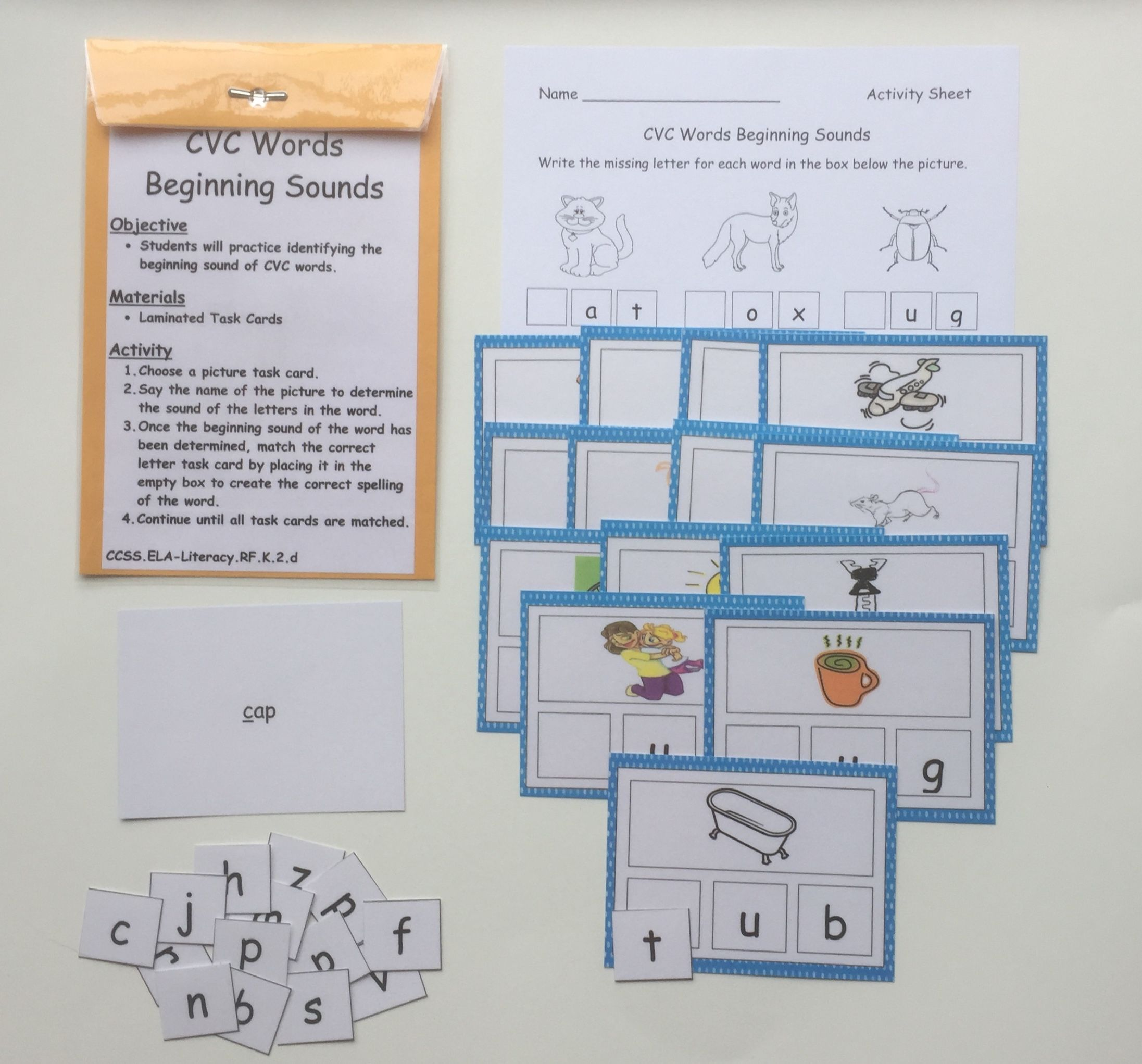 Cvc Words Beginning Sounds Laminated And Ready For