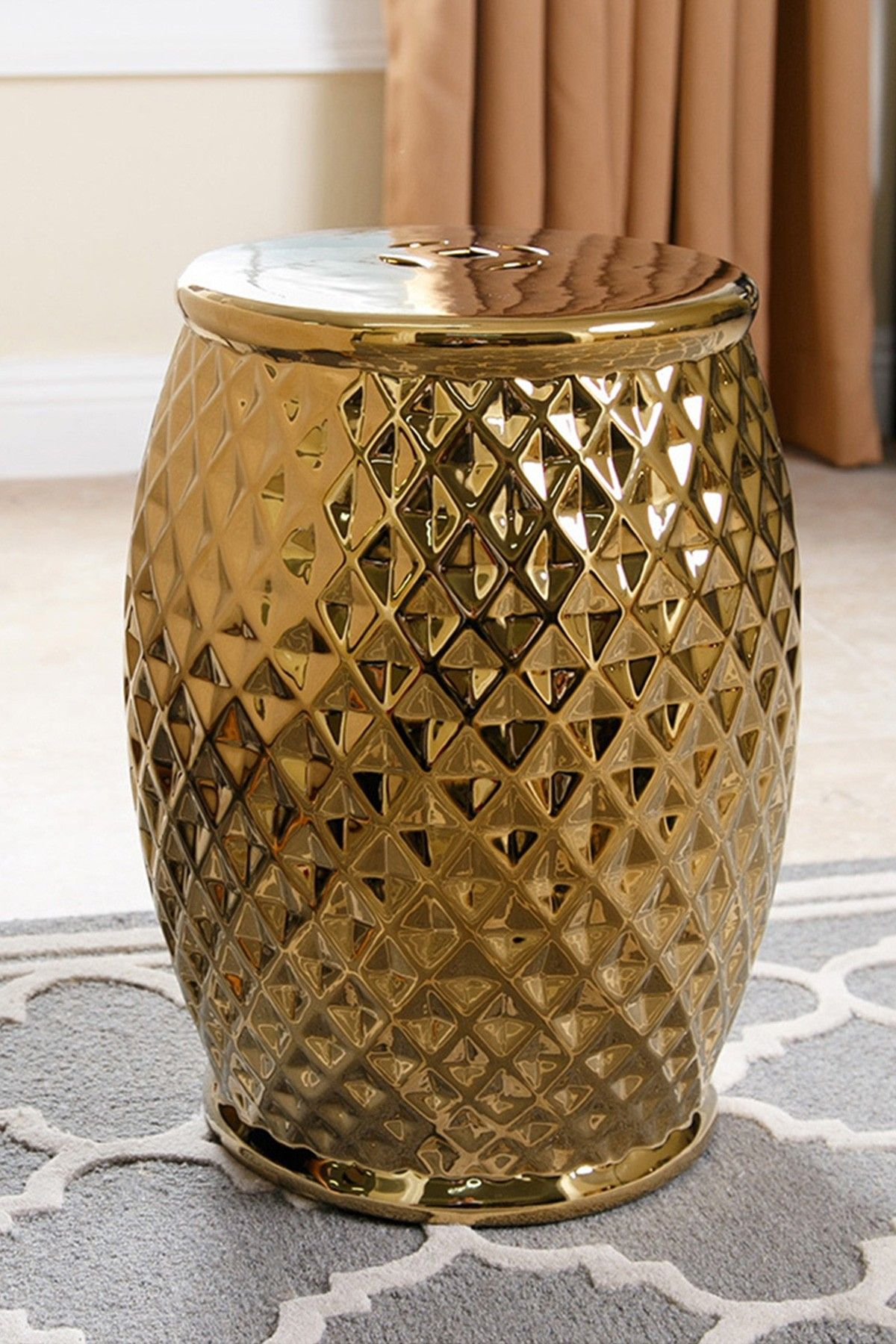 Sebrina Tufted Gold Chrome Ceramic Garden Stool on @HauteLook | Casa ...