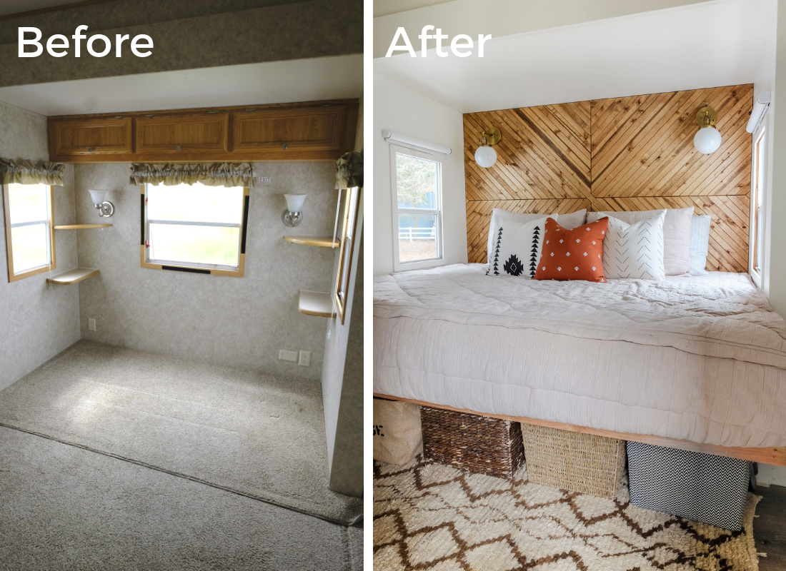 These Rv Bedroom Remodel Ideas Are Simple And Cute Definitely Read This If You Are Thinking About Doing A Remodel Bedroom Diy Camper Remodel Remodeled Campers