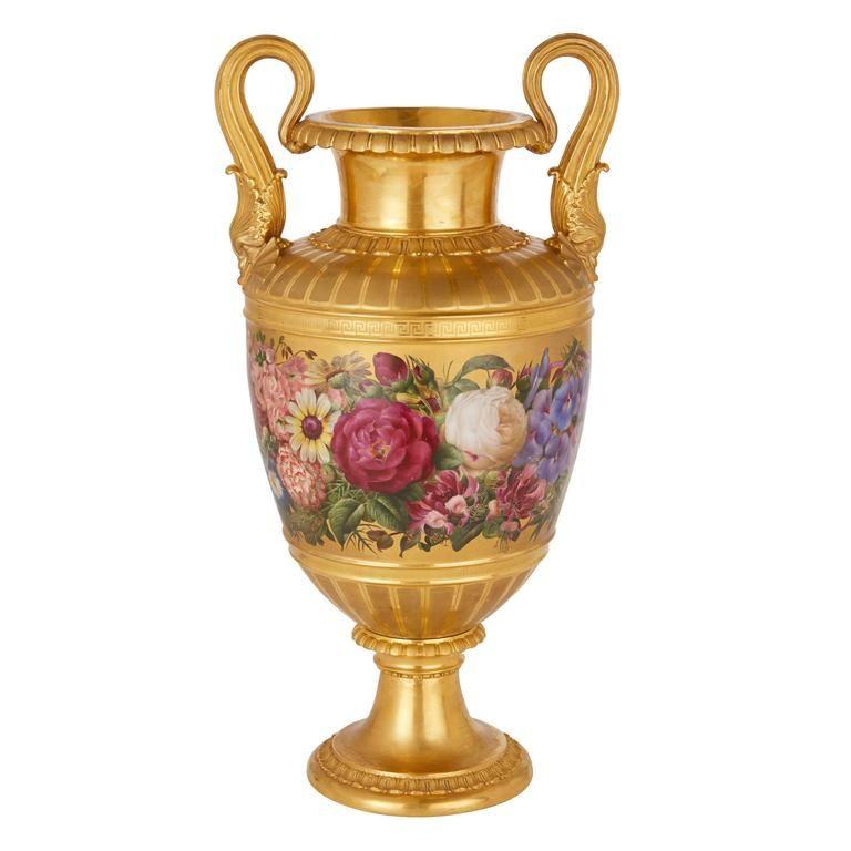 Very Fine Royal Copenhagen Gilt Ground Porcelain Vase Porcelain