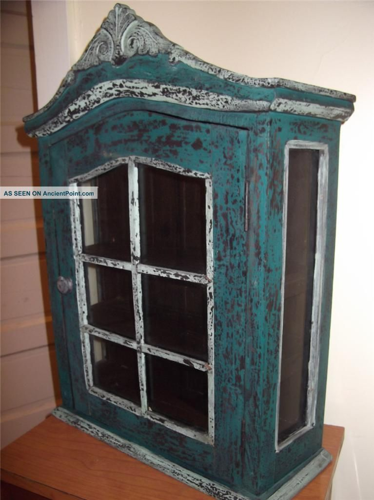 Antique Display Case Cabinet W/ Glass Sides & Door Green Paint Collectibles  Wall - Antique Display Case Cabinet W/ Glass Sides & Door Green Paint