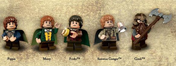 LEGO LOTR minifigures FELLOWSHIP OF THE RING LOT Gandalf,Boromir,Merry,Pippin