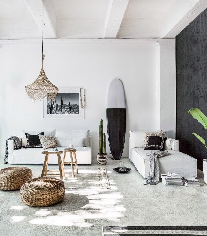 Nouvelle-Zélande   Une maison de plage, monochrome noir   Salons