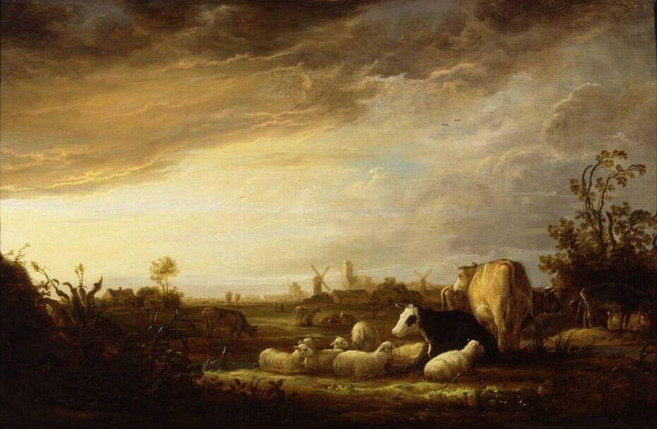 Albert Cuyp - Zonsondergang bij Dordrecht