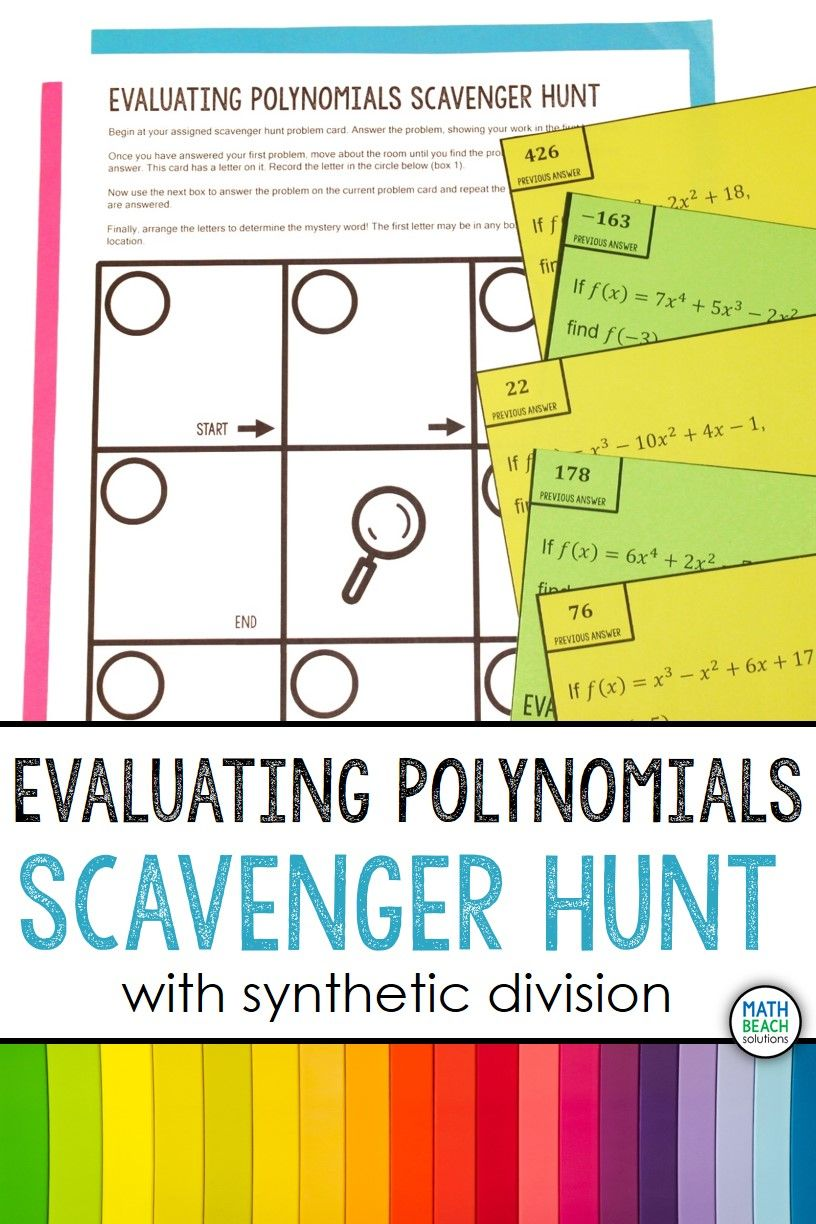 Evaluating Polynomials Using Synthetic Division Scavenger Hunt Activity In 2020 Synthetic Division Polynomials Algebra Resources