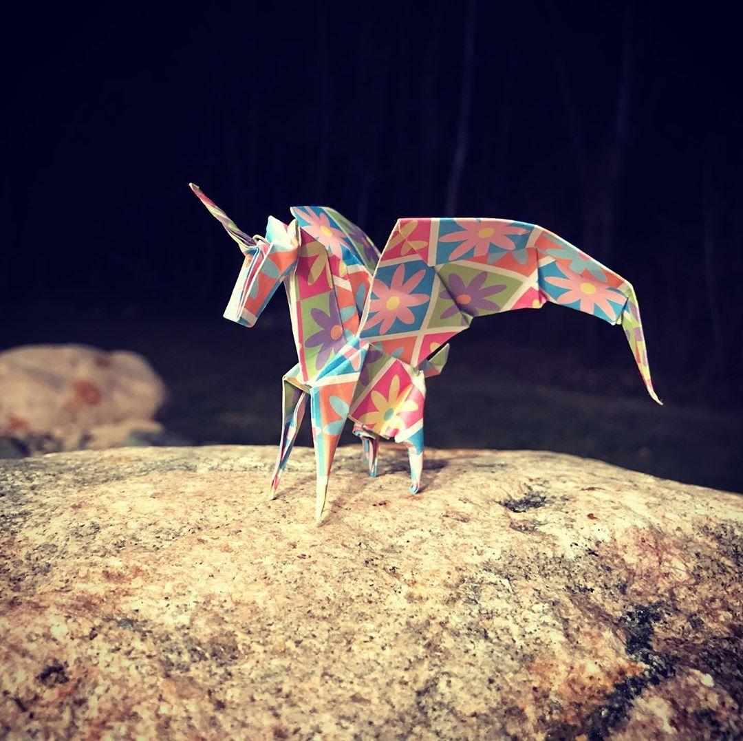 "Photo of UpNorth Origami on Instagram: ""Folded this magical creature tonight ?  #origami #unicorn #art #instaorigami #papercrafts #instart #pegasus #origamifun #mythicalcreatures…"""