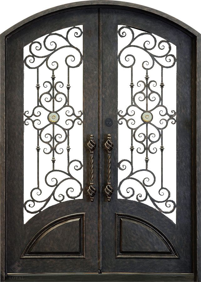 Double Curved Wrought Iron Door with Twirl Centre | Lounge ...