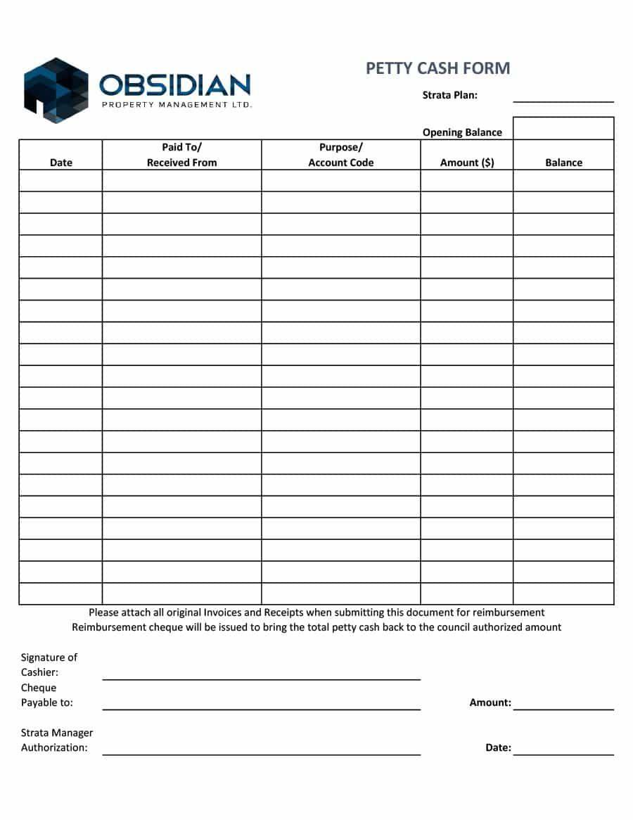 Petty Cash Register Template Receipt Template Templates Best Templates