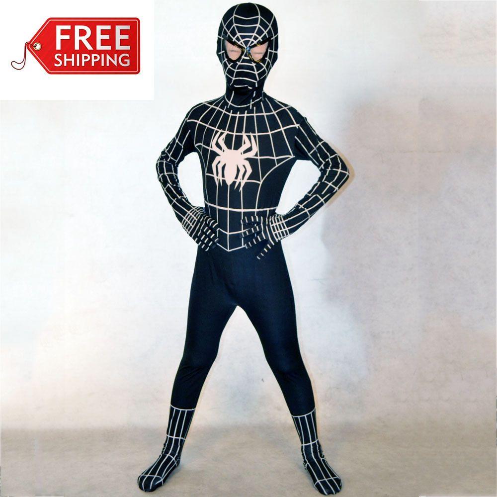 26f31d4eb8b Halloween costumes for kids costumes boys black Spiderman costume Child  superHero Cosplay Spandex zentai Full bodysuit Custom-in Costumes fr.