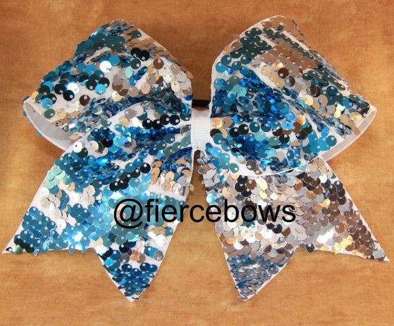 e79587e29c 4452 Turquoise and silver reversible sequins on a white background make  this bow a must have for your collection! This bow is lighter in color than  our teal ...