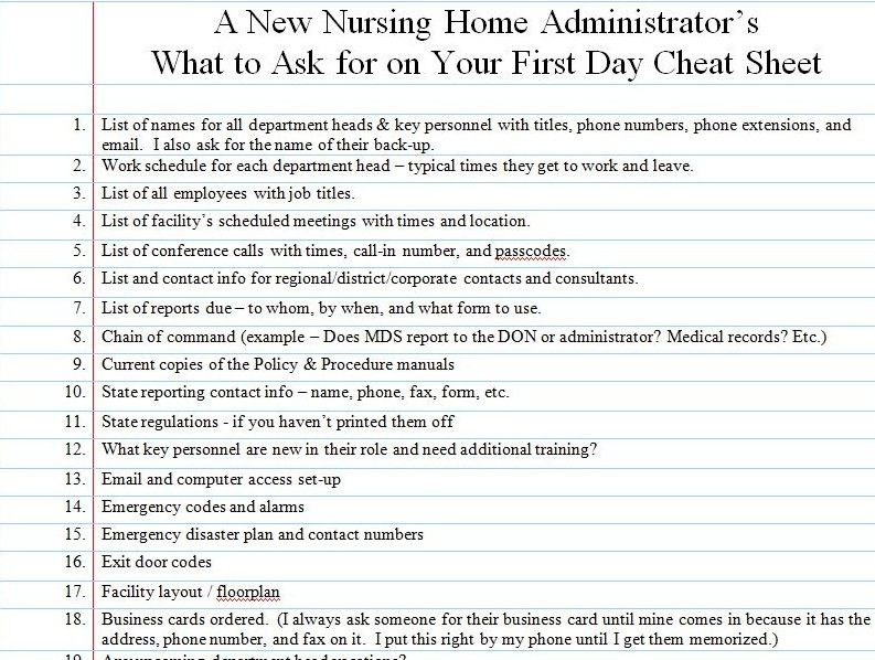What A New Nursing Home Administrator Should Ask For On The First