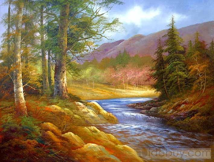 Simple Paintings For Beginners Landscape Peaceful Nature Oil Painting Tidebuy Com Oil Painting Nature Landscape Paintings Nature Paintings