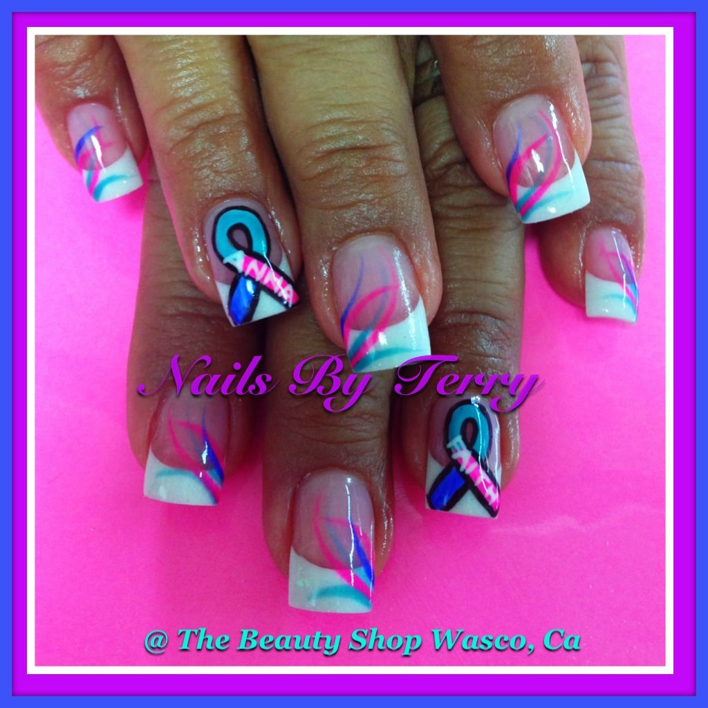 White Tips Feathery Look On One Nail Of Each Hand Only Don T Like The Ribbon September