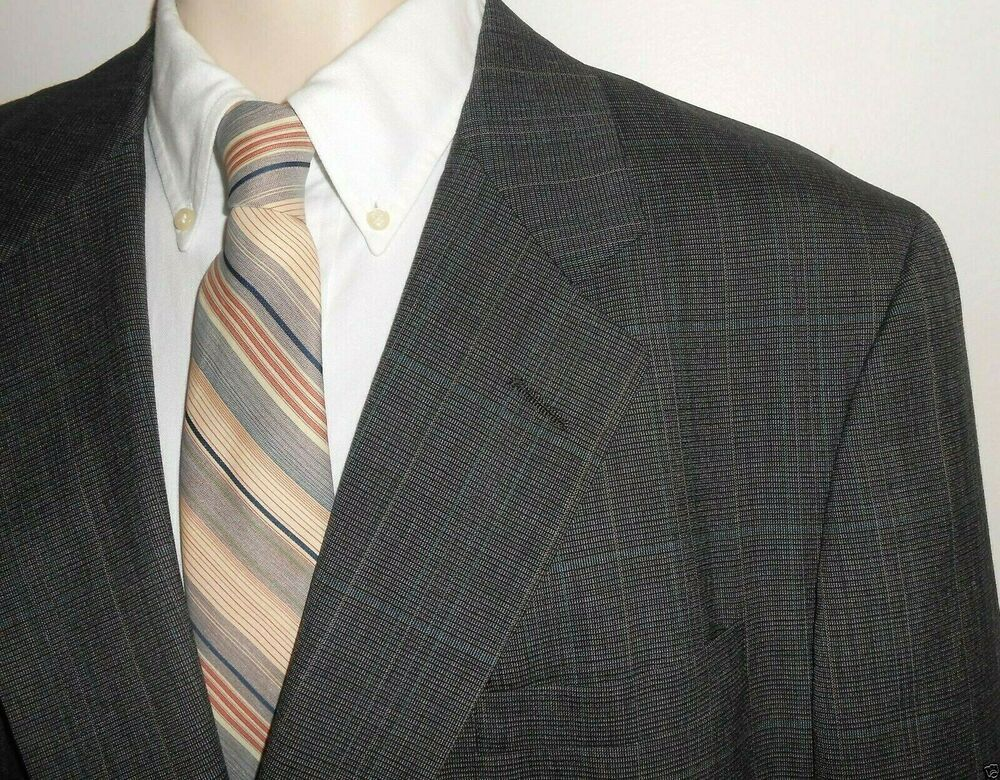 Vtg Austin Reed Sport Coat Blazer 43r 44r Plaid Gray Blue Wool 2 Buttton Usa Austinreed Twobutton