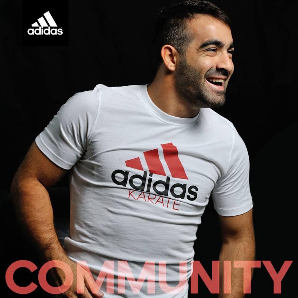 """La ligne """"Community"""" présentée par Rafael Aghayev.  A retrouver ici : http://www.boutique-du-combat.com/karate-textiles/99-t-shirt-karate-community-line-adidas.html"""