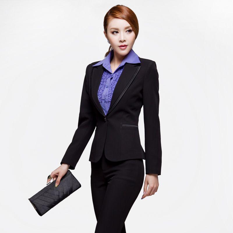 9ff38e94887cb Autumn one button slim women's work wear business formal set ...