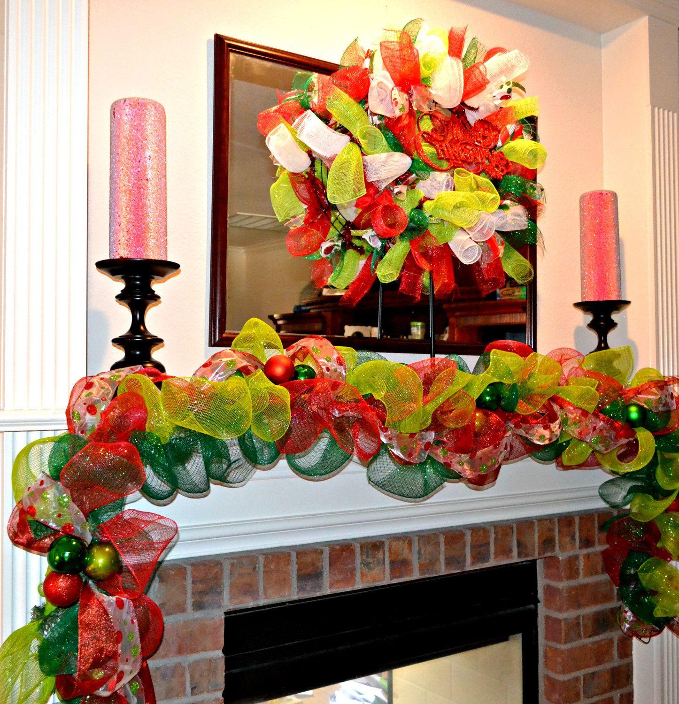 Front door deco mesh christmas decorations - Christmas Garland Deco Mesh Garland Mantel Decoration Fireplace Decoration Christmas Decor Red Green And Gold Garland Front Door Decor