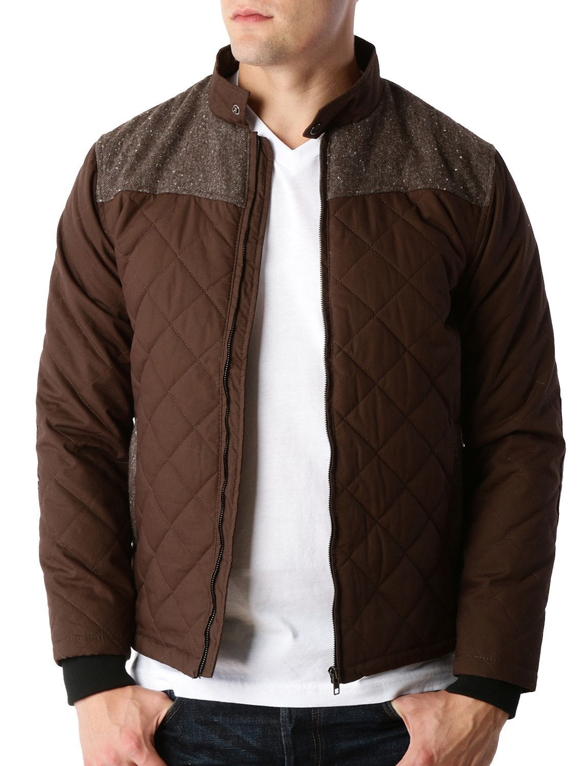Sizes May Run Small Please Choose A Size Up This Lightweight Quilted Full Zip Up Bomber Jacket With Elbow Patches Is Mens Fashion Edgy Jackets Bomber Jacket [ 1500 x 1150 Pixel ]