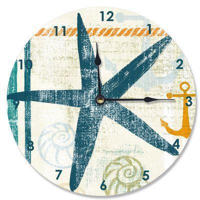 """Stupell Industries 12"""" Beach Theme Starfish Vanity Clock"""
