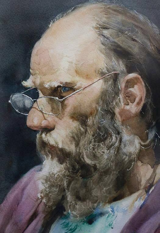 Painting By Guan Weixing Chinese Artist Watercolor Portraits