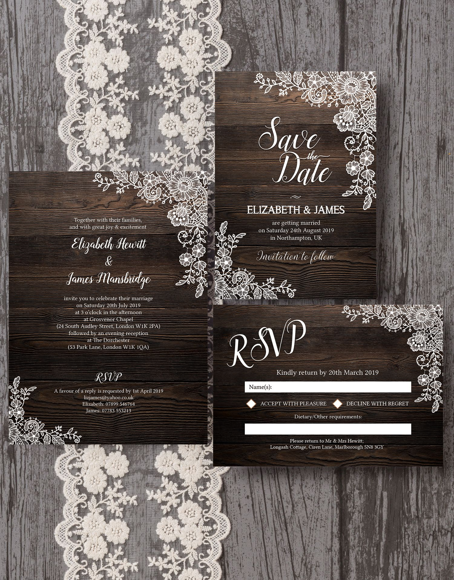 Beautiful Rustic Wood Background Wedding Stationery With Delicate Vintage Floral Lace Borders And White Calligraphy Style