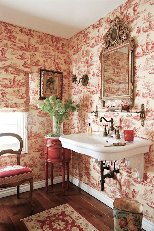 French country dream bath with herbeau royale faucet toile wallpater elegant vintage furniture for French country bathroom wallpaper