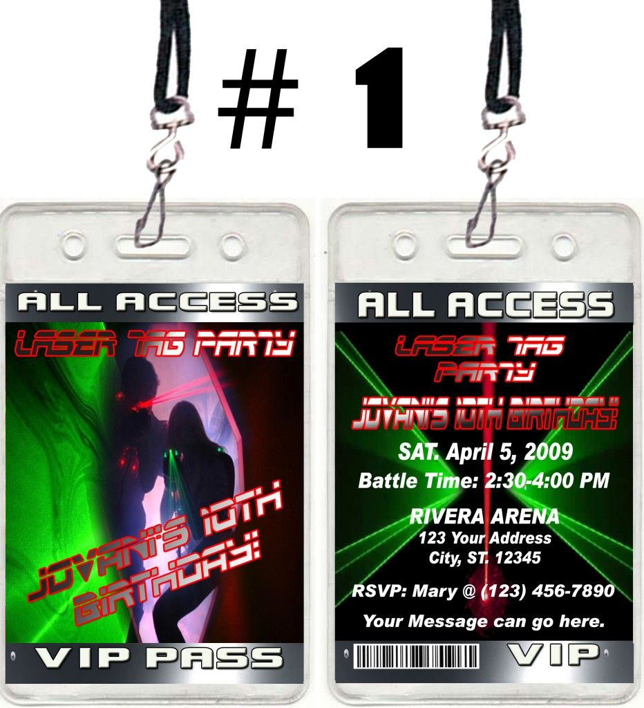 Laser tag ticket vip birthday party invitations and favors stopboris Choice Image