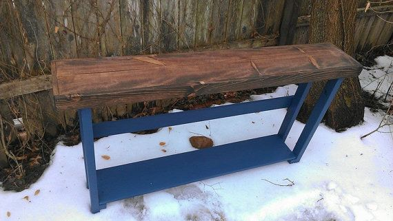 Beautiful dark walnut stained mariner blue painted 5 foot for 5 foot console table