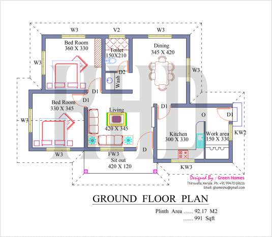 Lovely 2 Bedroom Low Budget Villa In 991 Square Feet With Free Plan Free Kerala Home Plans House Floor Plans House Layout Plans Kerala House Design