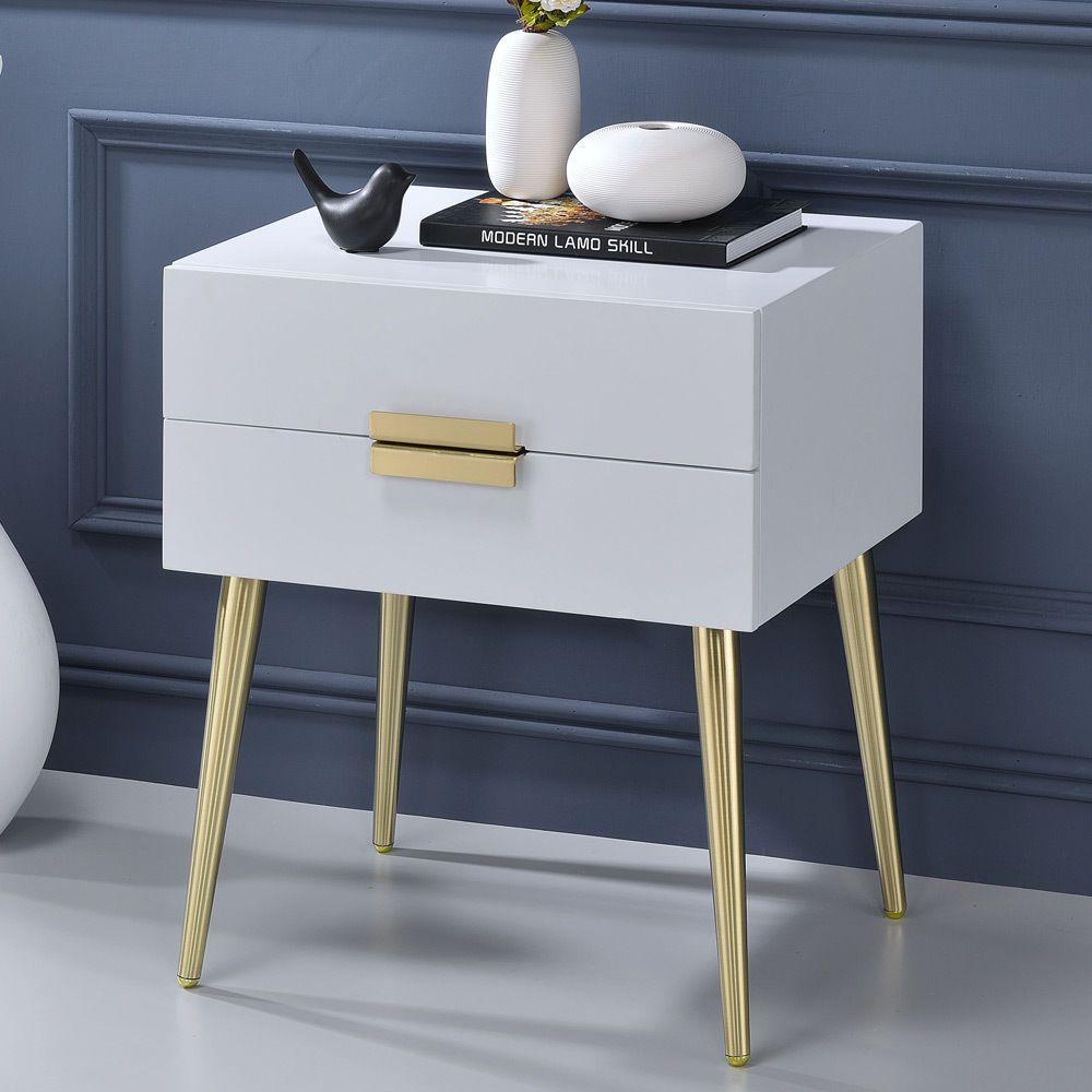 Denvor Modern End Side Table Stand Nightstand Drawers High Gloss White Gold Legs Nightstand Decor Mid Century Side Table White Side Tables